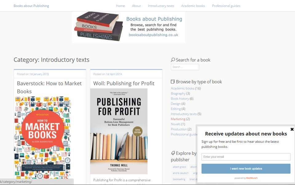 Books about Publishing screenshot showing categories